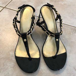 COACH Honora Black Wedge Sandal with Gold Chain